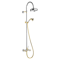 COLONNE DE DOUCHE CHAMBORD RETRO COMPLETE CHROME/OR*