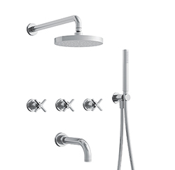 BAIN/DOUCHE ENCASTRE 3 SORTIES CROSS ROAD COMPLET CHROME