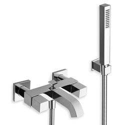 BAIN/DOUCHE QUADRI + KIT Douchette/Flexible/Support CHROME