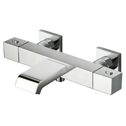 BAIN DOUCHE QUADRI THERMOSTATIQUE + COLONNETTES CARREES 9 CM