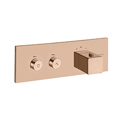 FACADE THERMO UP HORIZONTALE THERMOSTATIQUE 2 SORTIES QUADRI OR ROSE