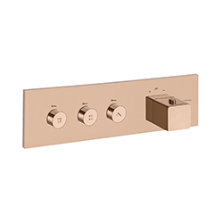 FACADE THERMO UP HORIZONTALE THERMOSTATIQUE 3 SORTIES QUADRI OR ROSE