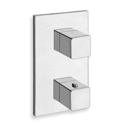 .FACADE EXTERNE QUADRI LAITON THERMOSTATIQUE  2 SORTIES CHROME