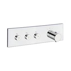 FACADE THERMO UP HORIZONTALE THERMOSTATIQUE 3 SORTIES CHROME TRIVERDE